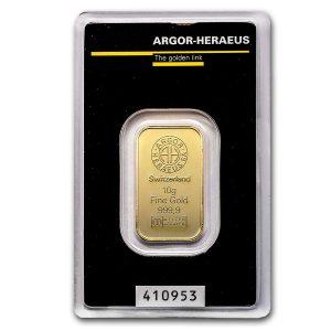 10 gram gold argor bar front