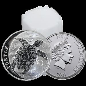 2021 1 oz Silver Nieu Turtle Coin Tube- New Zealand Mint