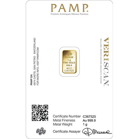 1 Gram Fortuna Gold Bar(Inc. Assay Card) - Pamp Suisse