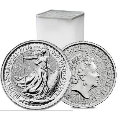 2021 1/4 oz Silver Britannia Coin (Tube)- Royal Mint UK