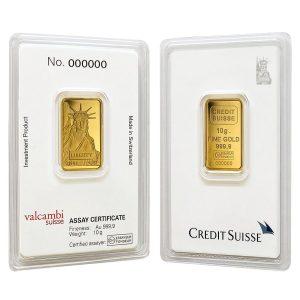 10 Gram Liberty Gold Bar(Inc. Assay Card) – Credit Suisse