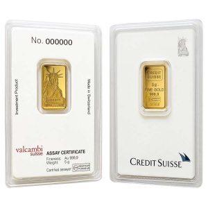 5 Gram Liberty Gold Bar(Inc. Assay Card) - Credit Suisse
