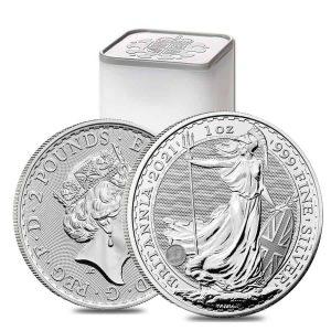 2021 1 oz Silver Britannia Coin Tubes - Royal Mint Uk