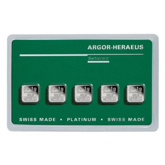 5 x 1 gram Multi-Card Platinum Bar - Argor-Heraeus