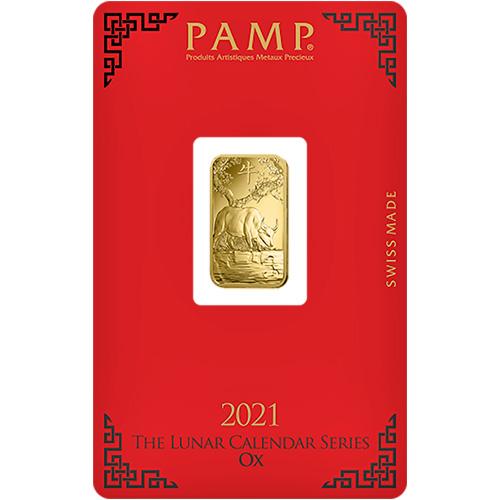 2021 5 gram Lunar Ox Gold Bar (In Assay) - PAMP Suisse